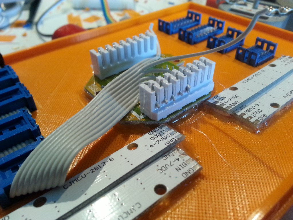 Connecting the ribbon cable with a punch-tool to the RJ45 board