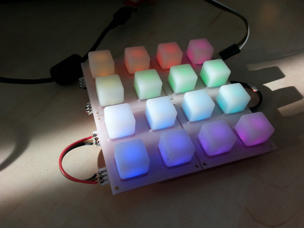 Testing with soft buttons overlaying the led's