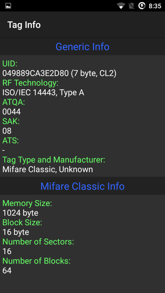 Using a mobile phone to clone a MIFARE card – timdows
